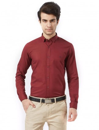 Killer solid maroon cotton fabric shirt