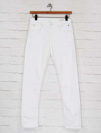 Killer white color solid slim fit jeans