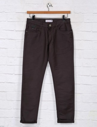 Kozzak charcoal grey solid denim jeans