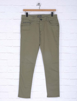 Kozzak olive plain slim fit jeans