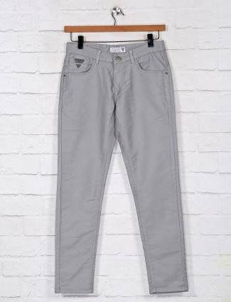 Kozzak solid ash grey denim jeans for mens