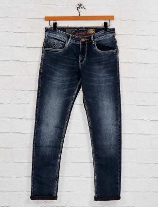 Kozzak solid navy whisker effect jeans