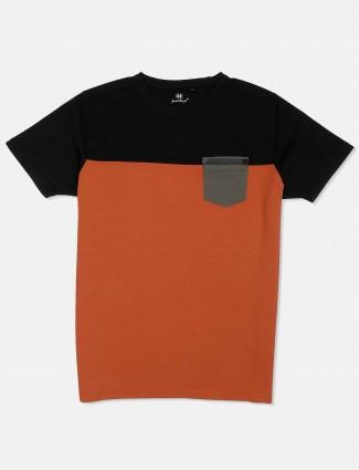 Kuch Kuch black and orange solid t-shirt