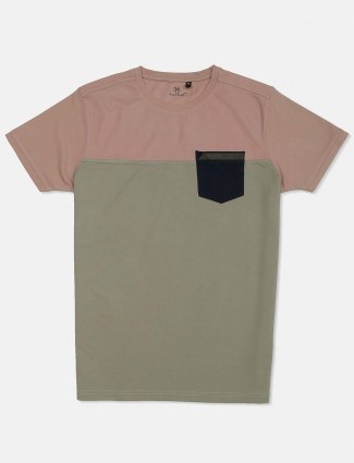 Kuch Kuch light pink and olive solid mens t-shirt