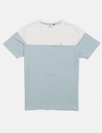Kuch Kuch round neck light blue solid t-shirt