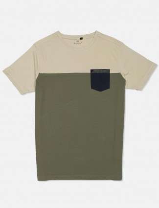 Kuch Kuch slim fit solid beige and olive half sleeve t-shirt