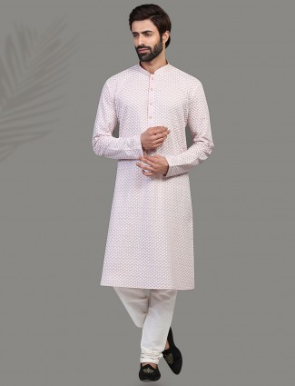 Kurta suit with chikan thread in violet
