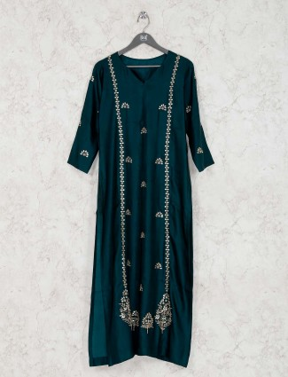 Kurti in bottle green satin silk