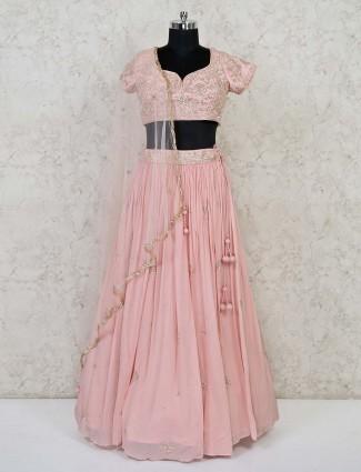Latest baby pink wedding lehenga choli in georgette