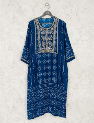 Latest blue bandhani printed cotton kurti for festive