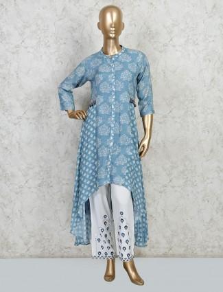 Latest blue cotton festive wear palazzo sets