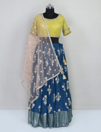 Latest blue georgette lehenga choli