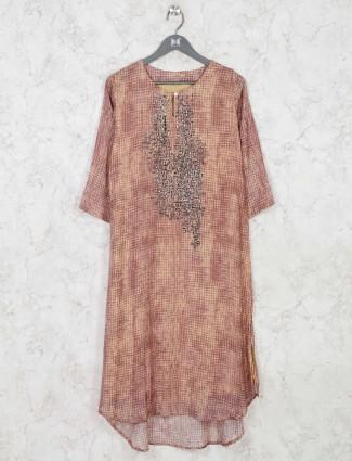 Latest brown festive wear cotton kurti