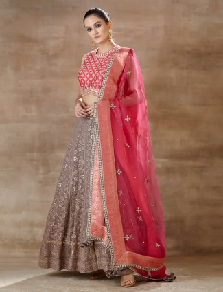 Latest brown pink lehenga choli forwedding wear