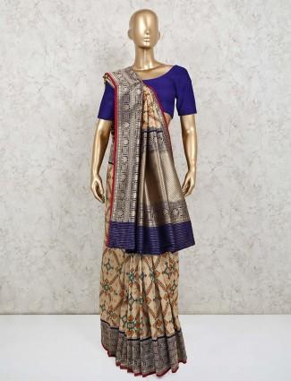 Latest cream colour patola silk saree