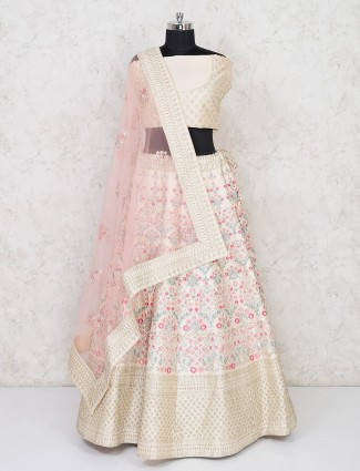 Latest designer cream semi stitched bridal lehenga in silk