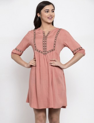 Latest dusty pink cotton long top