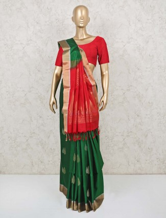 Latest green and red saree in pure silk