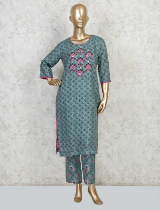 Latest green cotton palazzo sets for festive