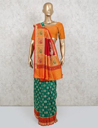 Latest green silk wedding wear saree