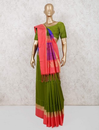 Latest green south pure silk saree for wedding functions