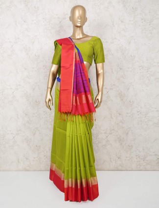 Latest green south pure silk saree in south pure silk