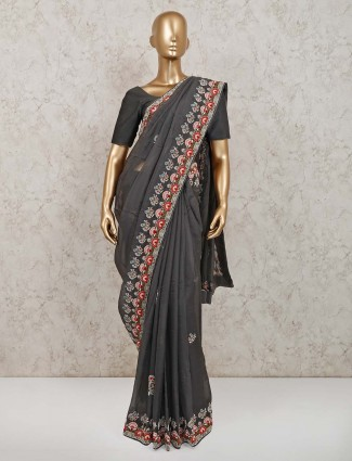 Latest grey tissue silk saree for party