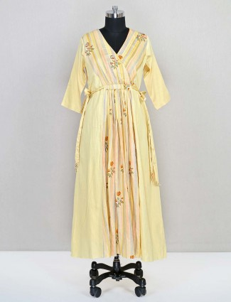 Latest lemon yellow cotton wedding wear salwar kameez