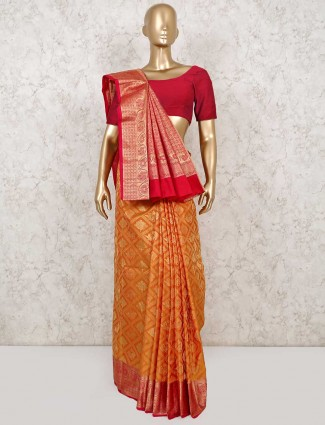 Latest Mustard yellow wedding wear south pure silk saree