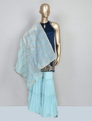 Latest navy blue designer sharara salwar kameez