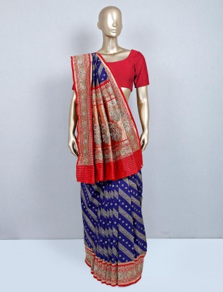 Latest navy silk saree for wedding
