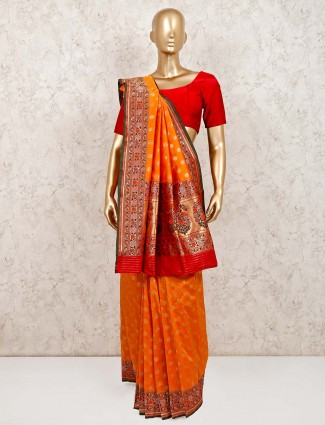 Latest orange banarasi silk saree for weddings