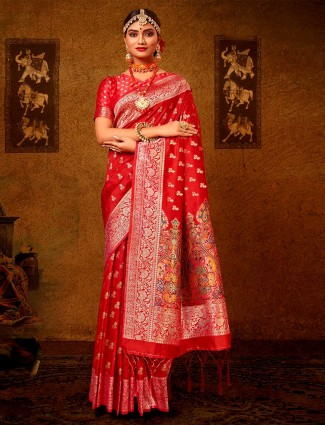 Latest orange banarasi silk wedding wear saree