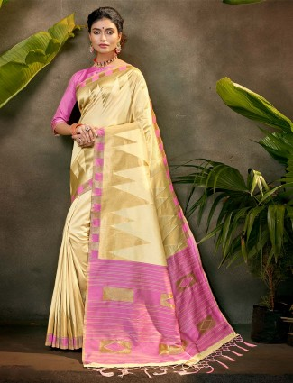 Latest party wear saree in beige silk