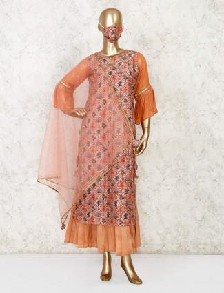 Latest peach double layered kurti in cotton