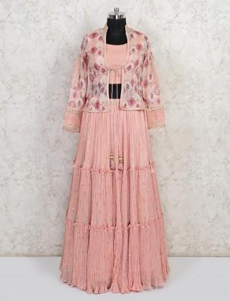 Latest pink georgette wedding lehenga choli