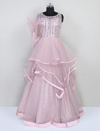 Latest pink net gown for women in net