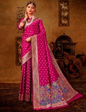 Latest purple banarasi silk saree for wedding
