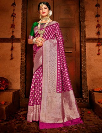 Latest purple saree for wedding function