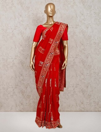 Latest red colour silk festive saree