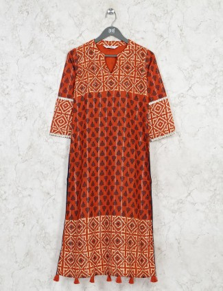 Latest rust orange cotton casual wear kurti