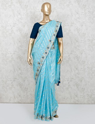 Latest sky blue party wear saree in dola silk