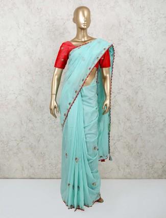 Latest sky blue saree for festive