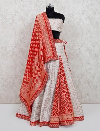 Latest white banarasi silk wedding lehenga choli