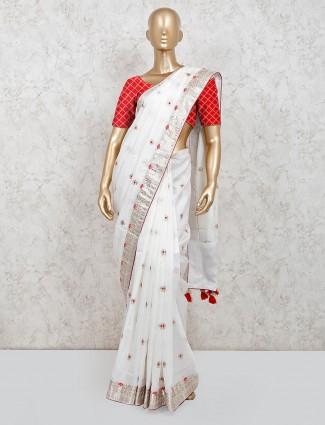 Latest white dola silk saree for party