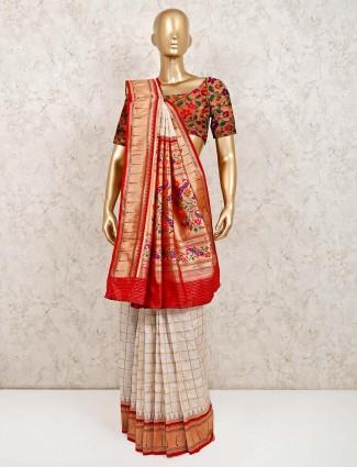 Latest white wedding wear banarasi silk saree