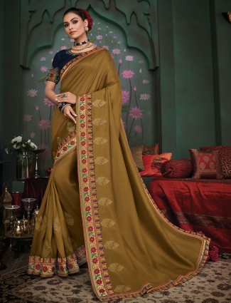 Lavish satin silk festive wear saree in olive