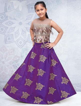 Lehenga choli in purple hue silk fabric