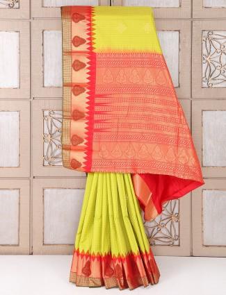 Lemon yellow color silk fabric saree