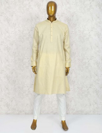Lemon yellow colored cotton mens kurta suit
